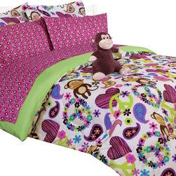 Bed In A Bag - Fabian Monkey Bed in a Bag Comforter Set - Fabian Monkey Bed in a Bag Comforter Set. Machine Washable, 100% Polyester.