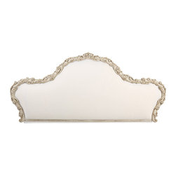 "Inviting Home - Tuscan Style Headboard (distressed white) - 18th-century Tuscan style carved wood headboard with distressed white finish; 97""W x 5""D x 44""H hand-crafted in Italy 18th-century Tuscan style carved wood headboard with distressed white finish floral design and muslin upholstery. Fits a 78"" wide king size mattress. This headboard is hand-crafted in Italy."