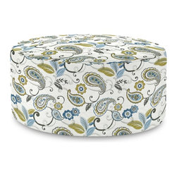 Paisley Lagoon Universal 36 Round Cover - Does your Universal 36 Round need an update? Do so by simply getting a new cover. Velcro fasteners and tailored design make it so you would never know this piece is slipcovered. Cleaning and updating is a breeze, change your look on a whim with new covers!