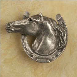 Horse in Horseshoe Knob - Equestrian knobs could fit in a little boy's room or in a farmhouse.