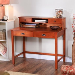 Valona Oak Writing Desk with Optional Hutch - If you're a writer looking for the right choice well we've got it right here! The Valona Oak Writing Desk with Optional Hutch looks good right? Well this fantastic desk is a great choice for your home offering excellent surface space for writing filing and organizing. The optional hutch brings cubbies and drawers to the table offering even more function. Completed in a traditional oak finish this desk is crafted of sturdy engineered wood and veneers for lasting longevity.