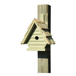 Heartwood - Chick Birdhouse elery - This  beautifully  crafted  birdhouse  is  the  perfect  finishing  piece  for  any  yard.  Made  of  solid  cypress  with  a  hand-shingled  roof  and  full  copper  trim,  this  chick  house  is  pristine.  It  also  comes  equipped  with  ventilation,  drainage  and  a  rear  cleaning  door  for  easy  access  and  no  hassle.  Also  comes  with  a  mounting  paddle  for  easy  hanging.  Available  in  several  colors.          Product  Details:                  6x8x12              1-1/8  hole              Available  in  smoke  grey,  pinion  green,  redwood,  whitewashed,  celery  and  blueberry              Handcrafted  in  USA  from  renewable,  FSC  certified  wood