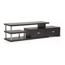 Wholesale Interiors - Ferguson Dark Brown Modern TV Stand - Display and store the entertainment center of your dreams with the Ferguson Designer TV Stand. This versatile piece offers a variety of storage spaces: enclosed shelves, drawers, and, of course, the spacious top shelf. While open shelving on the left of the TV unit feature steel supports and can be used for peripherals or display of decor, the two drawers on the right side include silver drawer pulls and are perfect for DVDs, extra cables, and more. This Malaysian-built modern entertainment stand is made of engineered wood with dark brown (Espresso)faux wood grain paper veneer. Maintenance is simple: just wipe the unit's surfaces with a dry cloth. Assembly is required. Drawer dimensions (2): 5 inches high x 16.5 inches wide x 13.12 inches long. Shelf dimensions (2): 6.37 inches high x 14.5 inches wide x 15.37 inches long. Overall Dimensions: 17 inches high x 63 inches wide x 15.37 inches long.