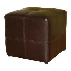 Wholesale Interiors - Baxton Studio Upholstered Cube Ottoman in Bro - Versatile Baxton Studio cube ottoman is so handy you'll wonder how you ever got along without it. Handsome brown bonded leather upholstery is accented with decorative double-needle stitching for a tufted look. It pulls up easily to make any chair a lounger and the compact design is perfect for small spaces. It can also serve as additional seating in a pinch, and is the ideal place to sit to play video games. Or, place a tray on top and use it as a cocktail table. At such an affordable price, you'll want to order more than one of this terrific ottoman. Dark espresso brown bonded leather upholstery. Black fabric lining on bottom. Black round plastic legs. 16 in. W x 16 in. L x 15 in. H (15 lbs.)This small but sturdy cube ottoman will add a sleek, sophisticated look to your living space. With bonded leather panels stitched together for added flair, you will find the ottoman to be multifunctional as an example of great design, sturdy as a footrest, and well-built enough to use as a stool for extra seating.