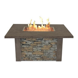 Sierra Fire Pit with Rectangular Burner-Nocha - The Sierra Fire Pit is made with outdoor rated faux ledgestone. Our new rectangular burner is a great new look that is U/L Listed. The durable supercast top looks great and stands up to the outdoor elements.