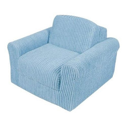 Fun Furnishings - Fun Furnishing Chair Sleeper Blue Chenille - The sofa and chair sleepers are the perfect place to sit to read, watch TV or play a game. When it is time to take a nap or find a place for a little friend to spend the night, flip open the chair or sofa, add a blanket and pillow and you are all set. Grandparents love having one at their home too! Built-in Durability We have worked hard to make our furniture durable and help it retain its appearance. We include a layer of fiber on the seating surfaces to keep the fabric tight much longer. Even so, furniture does wear with use. Here are some tips to help you keep it looking good while your kids enjoy it: 1. Jumping on the furniture is safe and a lot of fun, but it will make the piece look tired sooner. 2. Sitting or jumping on the arms of the furniture is not recommended.  3. As a result of acrobatic use the fabric may stretch. You can use a steamer or mister to lightly dampen the fabric with distilled water. As the fabric dries it will shrink slightly and look almost like new again. Cleaning the Cover:  We use only fine upholstery-grade fabrics that can take lots of use from kids. Our Micro Suedes, denims and chenilles are all washable.  But we cannot prevent the covers from getting dirty. Here's what you can do to keep them looking new:  1. Blot up spills immediately. Surface wash any remaining stains with a mild, non-toxic cleaner. Do not rub too hard or use a strong cleaner; you will remove the fabric's finish and possibly some color too. 2. The furniture covers are removable. We recommend dry cleaning to keep the covers looking their best as long as possible. 3. You may apply a scotch-guard type treatment to protect the covers. If you choose to do this always start with a small amount on the bottom of the piece to make certain the fabric will not be damaged. 4. The white bed surface is a poly/cotton blend and can be cleaned with stronger stain removers. Slipcover Removal Instructions 1. Unzip and re