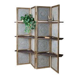 Uttermost - Uttermost - Anakaren Screen with Shelves In Weathered Barn Wood - 24511 - Anakaren Collection Screen with Shelves