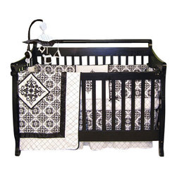 Trend Lab - Trend Lab Versailles Black and White Crib Bedding Set - Versailles Black and White 4-piece crib bedding set by Trend Lab. This 4 Piece Crib Bedding Set includes a crib bumper, a crib quilt, a crib sheet, and a box pleat skirt (dust ruffle).