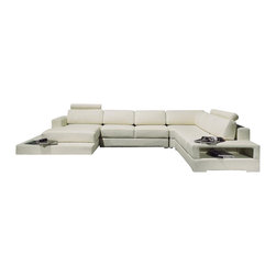 VIG Furniture - T63 White Top Grain Leather Sectional Sofa With Built-in Light - The T63 sectional sofa will be the perfect addition for any smaller area looking for a touch of modern design. This sectional comes upholstered in a beautiful white top grain leather in the front where your body touches. Skillfully chosen match material is used on the back and sides where contact is minimal. High density foam is placed within the cushions for added comfort. The sectional features a built-in light along the side of the chaise that adds to the room ambiance.