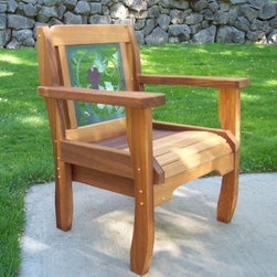 Wood Country Wine Country Chair - 28W x 25D x 33H in. - Looking for the perfect accent to your home garden or deck? Look no further than the Wine Country Chair - 28W x 25D x 33H in.. Its solid frame is made from the finest western red cedar and features a natural, unfinished look that is easily customized with paint or varnish (but also looks lovely as is). The chair's back features a grapevine design made from sturdy powder-coated steel (in a charming green and purple) that withstands weather and frequent use. This is a sensational piece to pair with your patio or deck furniture, or simply to keep in a shady spot in the garden or yard.About Wood CountryFine, handcrafted outdoor furnishings are what Wood Country is all about. They manufacture a complete line of outdoor furniture and accessories made of clear, kiln-dried western red cedar. Each piece is hand-crafted and finished with a high quality, penetrating oil weather stain. Wood Country is about offering their customers choices, allowing them to create their own custom environment perfectly suited to enjoy their leisure time. Customers can choose the styles they like, based on family need, budget, or just personal tastes. Wood Country uses the best materials, hardware, fabric and finishes they can find. Quality materials, combined with Wood Country's talent, means you're getting some of the best outdoor furniture available in today's market.