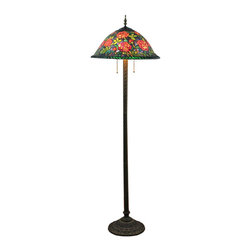 Elegant Flowers Tiffany Art Floor Lamp - Bring a taste of magnificence and stylish to your home or office with this beautiful floor lamp. This Tiffany style floor lamp features colorful hand-blown art glass,and displays bloom flowers in versatile hues of red, yellow and green. It glows warmly, and the dual pull chains are offered to controlled the two light under the lampshade.