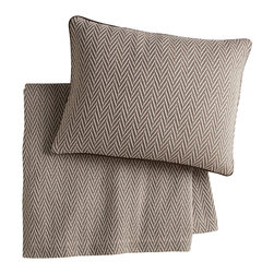 Peacock Alley - Veneto Blanket, Driftwood, King - Classic style and consummate comfort go together in this 100 percent Egyptian cotton blanket. The herringbone pattern in neutral hues will seamlessly suit your traditional bedroom décor. And the feel against your skin? Sublime!