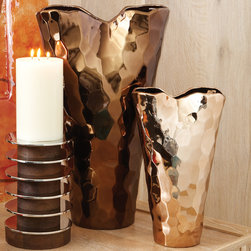 Global Views - Global Views Bronze Nugget Vase - The Global Views Nugget vase introduces bold modernity to contemporary interiors. Shimmering hammered bronze forms the tapered vessel's organic and statement-making design. Bronze metal; Available in two sizes