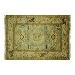 Manhattan Rugs - New Arrival Baby Blue Geometric Oushak 4'x6' Hand Knotted Wool Persian Rug H5690 - Oushak rugs originated in the small town of Oushak in west central Anatolia, roughly 100 miles south of the city of Istanbul in Turkey. Oushak has produced some of the most decorative Persian influenced rugs of all times. Oushak has been a production center of Turkish rugs since the 15th century. In the late 15th century the 'design revolution' took place. Before, producing carpets was part of the nomad culture, meeting people's daily needs, but for the first time the works of designing and weaving rugs were split in two. These Turkish rugs began to be produced commercially. From the 16th up to the 18th century the most famous manufacturers of ottoman times worked in Oushak. A special heirloom wash produces the subtle color variations that give rugs their distinctive antique look.