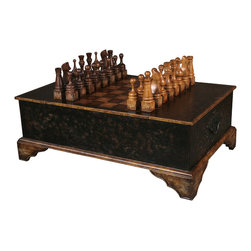 TerraSur - Vera Chess Coffee Table - Imagine yourself having a running game of chess with a worthy opponent in your home: Each person comes through and moves a piece thoughtfully, leaving it as a gift for the other player to come upon. All you need is the table suitable for such a grand game, and now you can bring this hardwood coffee table home. Let the game begin!