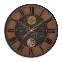 "Uttermost - Simpson Starkey 23"" Wall Clock - Weathered, Laminated Clock Face With Cast Brass Details And Internal Pendulum. Requires 1-aa Battery."