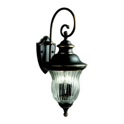 KICHLER - KICHLER Sausalito Traditional Outdoor Wall Sconce X-ZO2549 - From the Sausalito Collection, this Kichler Lighting outdoor wall sconce features an elegant and surprising take on the traditional lantern shape. The Olde Bronze finish highlights the soft and sweet curvature while the clear ribbed optic glass gives it a unique and unexpected twist. U.L. listed for wet locations.