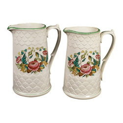 Antiques - Antique Scottish Set 2 Unity D. Methven & Sons Jugs Pitchers - This is a beautiful vintage Scottish set of 2 Unity D. Methven & Sons pitchers. They feature beautiful images of foliage with roses on their front and back sides with attractive decorative relief designs between them. They have lovely handles with green accents on their top and on their rim. They're in very good condition. They have a makers mark: Unity D. Methven & SonsOther Dimensions (In inches)Smaller Pitcher 8H x 6.5W x 4.75D