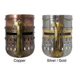 None - Handmade Collectable Medieval Knight Armor Helmet - This high-quality reproduction is an accurate ornamentation based on authentic historical research.  Made of iron and brass,this helmet has plenty of ventilation with the air holes while the eye slits provide maximum vision.