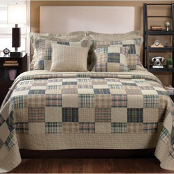 Greenland Home Fashions - Greenland Home Fashions Oxford Quilt Set - GL-1304EMST - Shop for Bedding Sets from Hayneedle.com! Some bedding seems like it's just waiting for an HGTV camera crew to walk by. Case in point: the Greenland Home Fashions Oxford Quilt Set an ensemble all about making sure you've got appealing comfortable style whether you're in bed or out. This thick cotton comforter features a bordered pattern of multicolored plaid squares that's echoed on the matching shams. On the reverse of the comforter is an all-over plaid design that gives you a second option when you're making the bed. Machine-quilting offers greater durability and a richer texture and no matter what size you choose each comforter sports an oversized design that makes it ideal for today's deeper mattresses. Each piece is pre-washed and pre-shrunk and the set is offered in multiple sizes.Product Dimensions:Twin comforter: 88L x 68W in. Full/queen comforter: 90L x 90W in.King comforter: 95L x 105W in.Small sham: 20L x 26W in.Large sham: 20L x 36W in.About Greenland Home FashionsFor the past 16 years Greenland Home Fashions has been perfecting its own approach to textile fashions. Through constant developments and updates - in traditional country and more modern styles the company has become a leading supplier and designer of decorative bedding to retailers nationwide. If you're looking for high-quality bedding that not only looks great but is crafted to last consider Greenland.The Oxford quilt set with a variety of colorful plaid squares bordered within a coordinating ground reverses to an all-over neutral plaid. This quilt compliments a variety of colors popular in the home or dorm. Machine quilted for durability. Oversized for better coverage on today s deeper mattresses. Prewashed and preshrunk. All cotton face back and fill. Set includes: Quilt and two pillow shams (one sham per twin set). Dimensions: Twin set includes one 68x88 quilt and one 20x26 pillow sham; Full/Queen set includ
