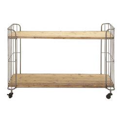 Multi-Purpose Metal Wood Roll Cart - Description: