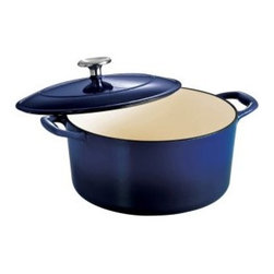 Tramontina Gourmet Enameled Cast Iron Covered Round Dutch Oven - Gradated Cobalt - Dress your kitchen in the best with the Tramontina Gourmet Enameled Cast Iron Covered Round Dutch Oven - Gradated Cobalt. A dream come true, this cast iron Dutch oven features a stunning cobalt-blue enamel. It's oven-safe up to 450 degrees F, features a porcelain-enameled interior, and the lid is ridged to create self-basting condensation.About Tramontina USAOriginally founded in Brazil, the versatile Tramontina has been a leading manufacturer and distributer to national and international retailers for over a century. In 1986, Tramontina USA was founded in Sugar Land, TX, where it has been proudly carrying the company banner in the United States. The Tramontina group operates 11 modern factories and 12 distributing centers worldwide. A leading manufacturer of household goods, ranging from cutlery to flatware and kitchen utensils, the group effectively invests in product research, development, and innovation to provide superior products and unmatched customer service.