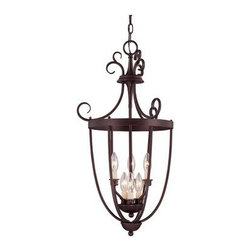 Savoy House - Hall Fixture - Six-light open foyer pendant with rich English Bronze finish and elegant classic styling.