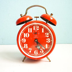 Vintage Red Orange Alarm Clock, Twin Bells by Euro Vintage - This vintage German clock will make you smile every time you cast a glance its way. It's just darling, darling, darling!