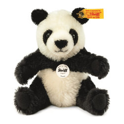 Steiff - Steiff Pummy Panda Bear - Steiff Pummy Panda is made of the finest black and white mohair. Surface washable. Ages 12 and up. Handmade by Steiff in Germany.