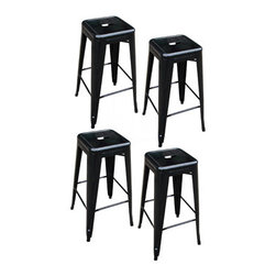 New Buffalo Corp. - Amerihome 4-Piece 30 Inch Metal Bar Stool Set - Black - These Amerihome Metal Bar Stools are durable enough for use in the shop, and stylish enough to use in the kitchen, game room, bar, basement, dorm room, or loft. Ideal for small spaces, the bar stools easily and neatly stack together, making them easy to stash out of the way for storage. A handle in the seat makes the stools easy to pick up and move. Lightweight and sturdy, each stool weighs only 12.5 lbs., but is strong enough to hold up to 330 lbs.