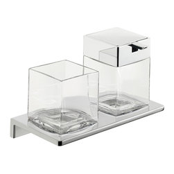 """WS Bath Collections - Asio 1331.204.00 Soap Dispenser and Toothbrush Holder - Asio 1331.204.00, 8.7"""" x 4.5"""" x 5.3"""", Holder with Toothbrush Holder and Soap Dispenser in Clear Crystal Glass"""