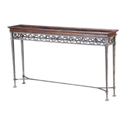 Ambella Home - Salone Scuro Console Table - Forge on with this handcrafted, wrought iron and walnut finished console table. The delicate feet and intricate detailing of the ironwork bring sophisticated grace and a touch of heavy metal to your living room or entry.