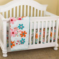 Cotton Tale Designs - Lizzie 3 Piece Crib Bedding Set - A quality baby bedding set is essential in making your nursery warm and inviting. Cotton Tale uses quality materials and unique designs to create your perfect nursery. The Lizzie 3 piece set has lots of color in a bright cotton motif. The 3 pc set contains fitted crib sheet, dust ruffle, and coverlet. Large appliqued daisies on a patchwork of big dot red, small red dot and a fancy contemporary floral. Sculptured dust ruffle with turquoise trim. Soft dot sheet 100%, 200 thread count cotton. Wash gentle cycle, separate, cold water. Tumble dry low or hang dry. This collection is perfect for your little girl. BUMPER IS NOT INCLUDED IN THIS SET.