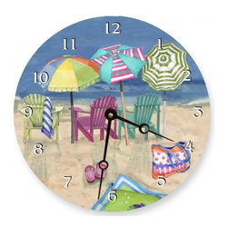 "Adirondack Summer Round Wall Clock, 18"" - Add a touch of art to your beach home with Adirondack Summer Giclee print on wood."
