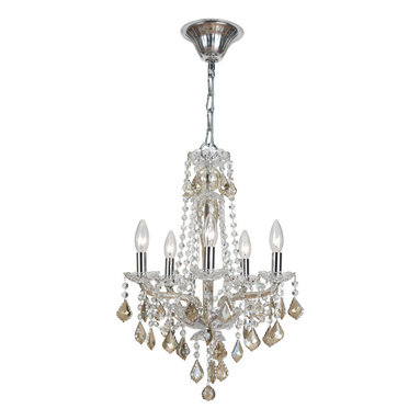 Simone Chandelier by Crystorama - Simone Chandelier features hand cut crystals with glass in Ice Blue or Cognac in a polished chrome finish and is available in three different sizes. Either (5) or (6) 60-watt, 120 volt B10 candelabra base incandescent bulbs are required, but not included. Dimensions: 21-inch: 15W x 21.5H. 31-inch: 26.75W x 31H. 42-inch: 30W x 42H.