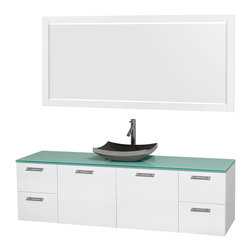 "Wyndham Collection - Amare 72"" Vanity, Green Glass, Altair Black Granite Sink, 70"" - Modern clean lines and a truly elegant design aesthetic meet affordability in the Wyndham Collection Amare Vanity. Available with green glass, acrylic resin or pure white man-made stone counters, and featuring soft close door hinges and drawer glides, you'll never hear a noisy door again! Meticulously finished with brushed chrome hardware, the attention to detail on this elegant contemporary vanity is unrivalled."
