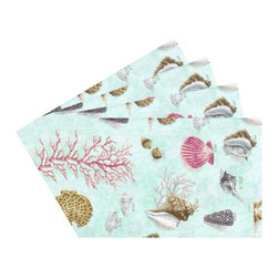 Enchante Accessories Inc - Raymond Waites Premium Quality Reversible Placemats - Set of 4 (Aqua/sealife) - Premium quality 100% cotton table linen with finished seamExpertly tailored with high quality cotton linenMachine wash in cold with like colors, colors do not bleedFloral patterns with elegant vintage styleSet of 4 Cloth Placemats    Elegant and functional, these cloth placmats serve to dress a table. Use on dining room tables, banquet tables and restaurants. We carefully select high-quality fabrics and threads to create every table linen. Made from natural materials and dip-dyed with non-toxic dye, the reactive dyeing process makes the table linens a beautiful and solid color while maintaining their natural softness.These gorgeous floral prints invite lively conversations for brunch, lunch, garden parties and casual dining. Made in India of 100% cotton, in deep colors as shown, these exciting placemats are beautifully finished with fine printed elegant patterns.These high quality cotton table placemats have a wonderfully vintage feel and are a great way to enhance your dining room setting. The place mats come in a variety of patterns and colors. They come packaged in a protective plastic button sealed case. (Set of 4)