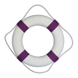 "Handcrafted Nautical Decor - Decorative White Lifering with Purple Bands 20"" - White Life Ring - This Classic White Decorative Lifering with Purple Bands 20"" will compliment any beach home perfectly. Our authentic rope used to wrap around the nautical lifering brings this beach bedroom accessory to life and will light up your beach living room, beach wedding decorations or beach themed party. Our Life ring decor actions are the perfect choice for any beach setting. We offer over 100 unique decorative life rings sized and priced for everyone's beach wall decor needs. Life ring decor is available in various sizes and styles such as lifering clocks, lifering mirrors, antique life preserver rings and of course the classic traditional decorative life rings, ranging in sizes from 6 to 30 inches."
