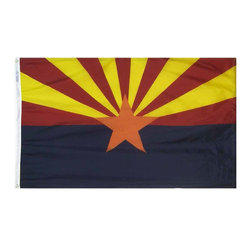 Flagline - Arizona - 4'X6' Nylon Flag - Designed for outdoor use, these beautiful long-wearing 4' x 6' Arizona flags are crafted from the highest quality 200-denier nylon. The colors are dyed into the fabric for superior penetration and color-fastness. Attaching to a pole is easy with the canvas header and brass grommets on the 4' side. The hem on the fly end of the flag features 4 lock stitched rows to help prevent premature fraying. The authentic designs are based on information from official sources.