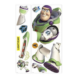 RoomMates Peel & Stick - Toy Story Buzz Giant Wall Decal - To infinity and beyond! Buzz Lightyear, the enthusiastic hero of Toy Story 3, can now adorn your walls in the form of this giant wall decal. Not only is Buzz big. He also glows in the dark! How's that for impressive? Mix and match Buzz with our giant Woody and Jessie decals, or our Toy Story 3 wall decal set for a full room makeover. A great pick for any Toy Story fan! Bring home the fun of Disney-Pixar with our huge assortment of Toy Story wall decals, wallpaper, peel and stick borders, murals, and more..