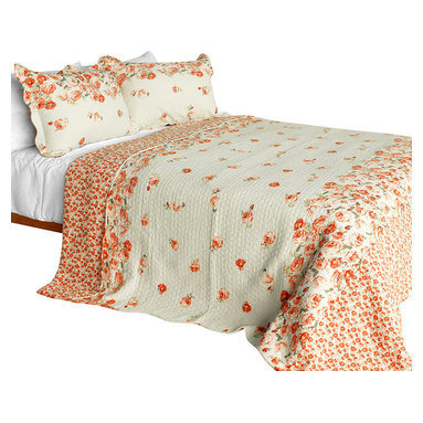Blancho Bedding - Newlyweds 2 Cotton 3-Piece Vermicelli-Quilted Patchwork Quilt Set, Full/Queen - Set includes a quilt and two quilted shams (one in twin set). Shell and fill are 100% cotton. For convenience, all bedding components are machine washable on cold in the gentle cycle and can be dried on low heat and will last you years. Intricate vermicelli quilting provides a rich surface texture. This vermicelli-quilted quilt set will refresh your bedroom decor instantly, create a cozy and inviting atmosphere and is sure to transform the look of your bedroom or guest room. Dimensions: Full/Queen quilt: 90 inches x 98 inches  Standard sham: 20 inches x 26 inches.