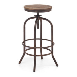 ZUO ERA - Twin Peaks Bar Stool, Distressed Natural - Based on the same mechanisms of drafters chairs in the early 1900's, the Twin Peaks barstool's adjustable mechanism allows a comfortable height for anyone. The top is solid Elmwood and the base and accents are antique metal.