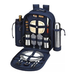 Picnic at Ascot - Bold Coffee Picnic Backpack for Two - Features: