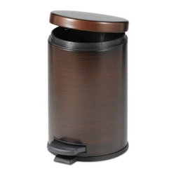 India Ink - Oil Rubbed 4 1/2-Liter Bath Step On Can in Bronze - With an efficient, space-saving design, step on can is made especially to save space in the bathroom. The oil rubbed bronze finish adds a nice, sophisticated touch.