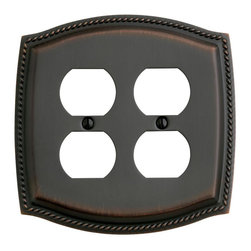 Baldwin Hardware - Rope 2 Outlet Wall Plate in Venetian Bronze (4794.112.CD) - Feel the difference as Baldwin hardware is solid throughout, with a 60 year legacy of superior style and quality. Baldwin is the choice for an elegant and secure presence. Baldwin guarantees the beauty of our finishes and the performance of our craftsmanship for as long as you own your home.