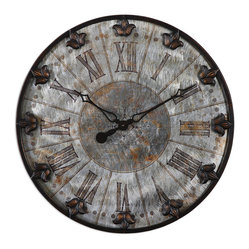Uttermost - Artemis Antique Wall Clock - Remember when you first learned to tell time? The big hand was the hour and the little hand was the minutes. All that changed with the digital era, but you can reclaim your childhood! With a little of that sundial feeling thrown in.