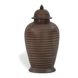 Kathy Kuo Home - Mesa Carved Brown Modern Southwestern Ginger Jar - This carved jar commands attention wherever it's displayed. Set it on a shelf solo or place a pair on the mantel for a touch of Southwestern-inspired drama.