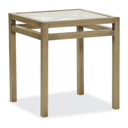Thos. Baker - Outdoor Glass Top End Table | Catalina Collection - The catalina collection features subtly weathered heavy-gauge aluminum frames, elegantly set-off with romantic accents and a classic crossback style. Coffee and end tables feature cut-to-fit tempered glass tops for easy cleaning.