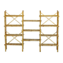 "Bamboo54 - Bamboo Expanded Shelf - Large bamboo shelf is ideal to use as a display rack in your store... as a bonus, you can put a price tag on it and we can drop ship it for you, it's that easy! Measures 62"" H x 80"" W x 15"" D with adjustable shelves ,shelf clearance of 14H x 25W. This shelf is actually two free standing that are attached together by the middle shelves. Some assembly required."