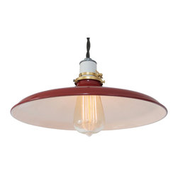 Manhattan Project Design Shop - The Hudson Lamp - Put a pop of color on your ceiling with this bright red, enamel steel dome-shaded pendant lamp. This industrial-chic lamp features a durable cotton cord in your choice of colors, and a clean white ceramic socket for extra refinement.